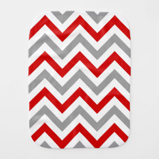 Red, White, Dk Gray Large Chevron ZigZag Pattern Burp Cloth