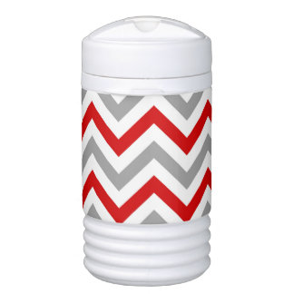 Red, White, Dk Gray Large Chevron ZigZag Pattern Drinks Cooler