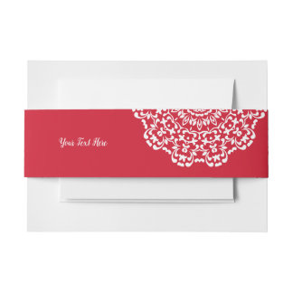 Red White Elegant Classy Lace Personalised Invitation Belly Band