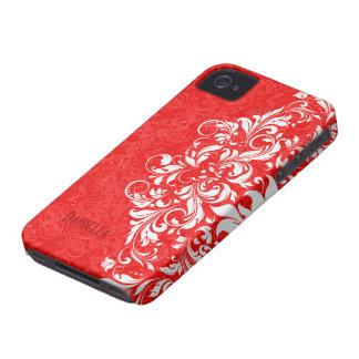 Red & White Elegant Vintage Floral Lace Monogram iPhone 4 Covers