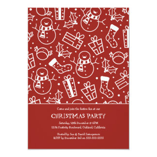 Red & White Festive Icon Christmas Party Invites