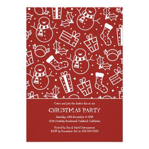 Red & White Festive Icon Christmas Party Invites