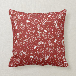 Red White Festive Icons Pillow