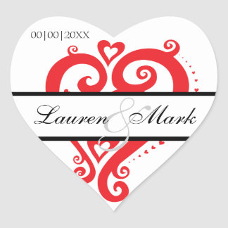 Red White Filigree Heart Save the Date Heart Sticker