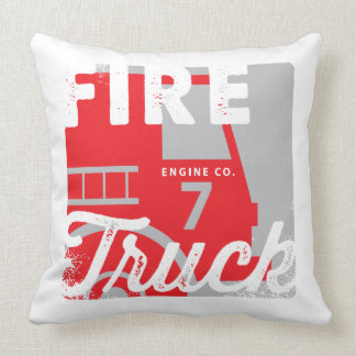 Red White Fire Engine Fire Truck Children's Pillow