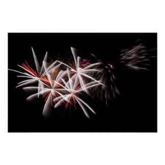 Red White Fireworks Display Photo Poster
