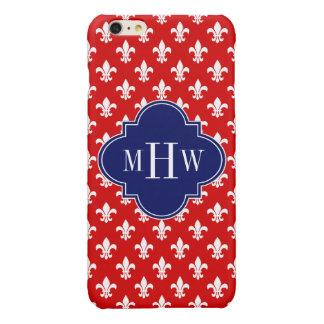 Red White Fleur de Lis Navy 3 Initial Monogram iPhone 6 Plus Case