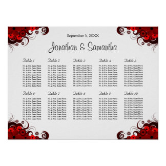 Red & White Floral 10 Wedding Tables Seating Chart Poster