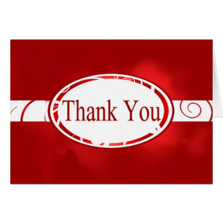 Red &White Floral Button Thank You Card