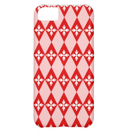 Red & White Floral Diamonds iPhone 5C Cover