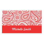 Red White Floral Paisley Pattern Pack Of Standard Business Cards
