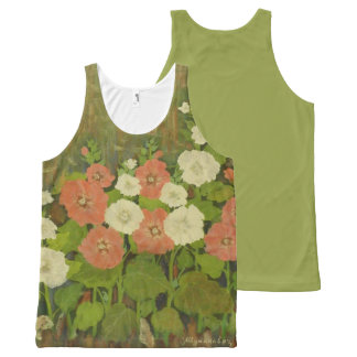 Red-White Floral Tank Top All-Over Print Tank Top