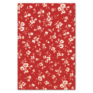Red White Floral Tissue Paper
