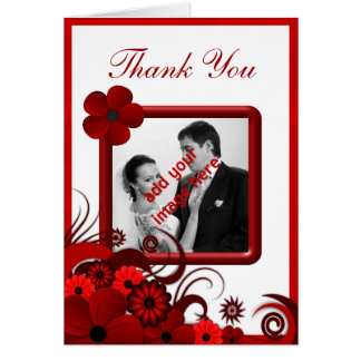 Red White Floral Wedding Thank You Photo Notecard