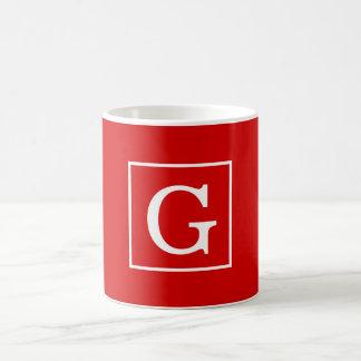 Red White Framed Initial Monogram Coffee Mug