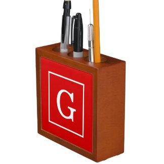 Red White Framed Initial Monogram Desk Organiser