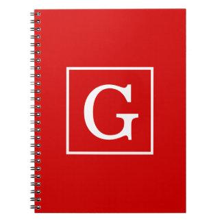 Red White Framed Initial Monogram Notebook