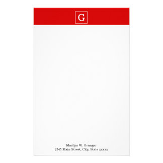 Red White Framed Initial Monogram Personalized Stationery