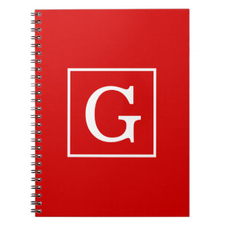 Red White Framed Initial Monogram Spiral Note Book