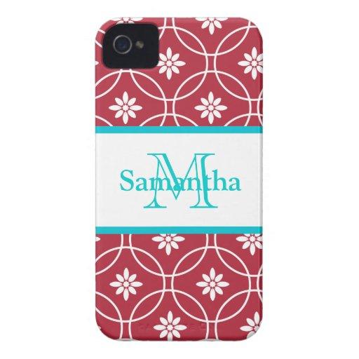 Red White Geometric Monogram Case-Mate iPhone 4 Cases