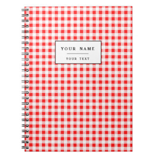 Red White Gingham Pattern Notebooks