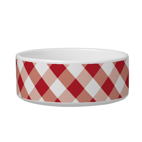 Red & white gingham pattern pet bowl