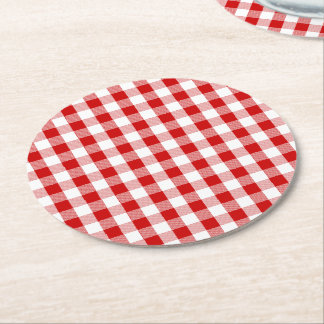 Red & White Gingham Plaid Checks Rustic Wedding Round Paper Coaster