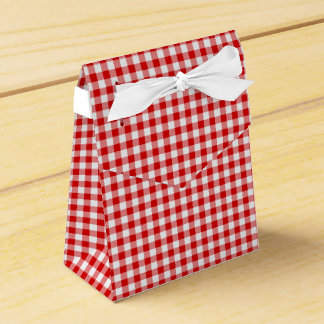 Red-White Ginham-PARTY FAVOR BOX, tent Favour Box