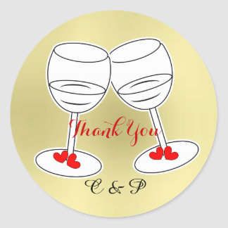 Red White & Gold Celebraton Glasses & Love Hearts Classic Round Sticker