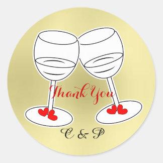 Red White & Gold Celebraton Glasses & Love Hearts Round Sticker