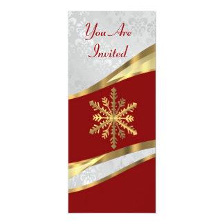 Red  white & gold Christmas 10 Cm X 24 Cm Invitation Card