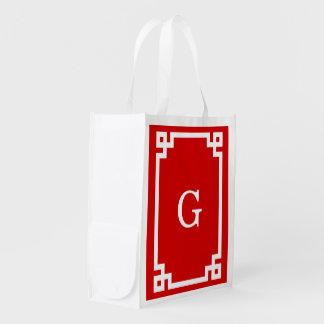 Red White Greek Key Frame 2 Initial Monogram Reusable Grocery Bag
