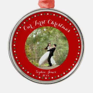 Red White Green First Married Christmas Ornament