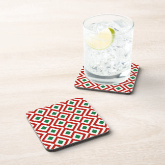 Red White Green Meander Beverage Coasters