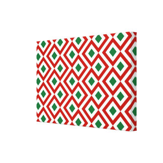 Red, White, Green Meander Gallery Wrapped Canvas