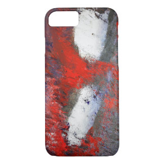 Red White Grey Abstract iPhone Case