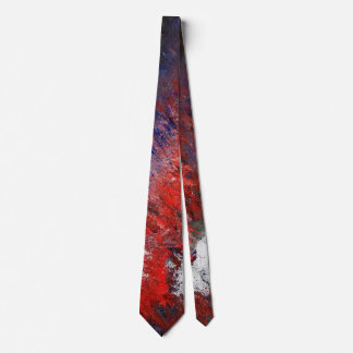 Red White Grey Abstract Neck Tie
