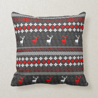 Red White Grey Stag Deer Trendy Modern Pillows