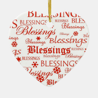 Red & White Heart Blessings Christmas Ornament