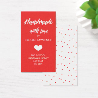 Red & White Heart Handmade with Love Business Card