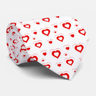 Red & white hearts in hearts Pattern Tie