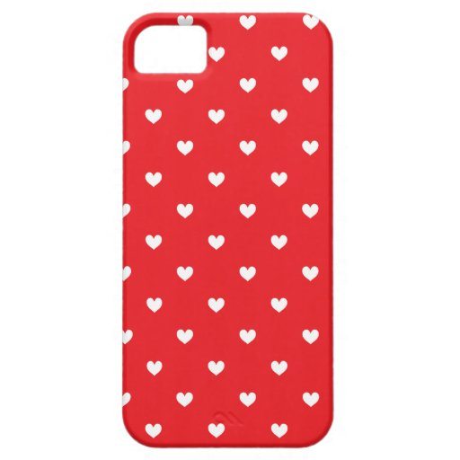 Red & White Hearts Pattern iPhone 5 Case