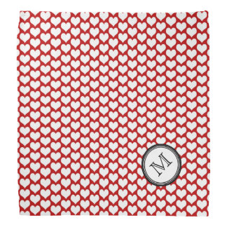 Red White Hearts Pattern Monogram Bandana