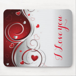 Red White Hearts Swirl Pattern Print Typography Mouse Pad
