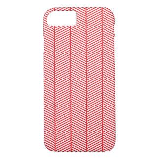 Red White Herringbone Zigzag iPhone 7 Case