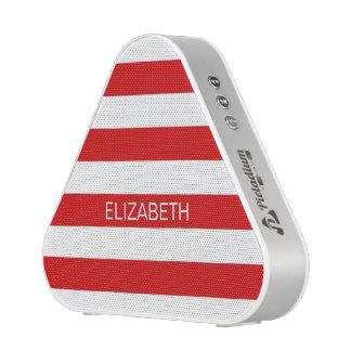 Red White Horiz Preppy Stripe #2 Name Monogram