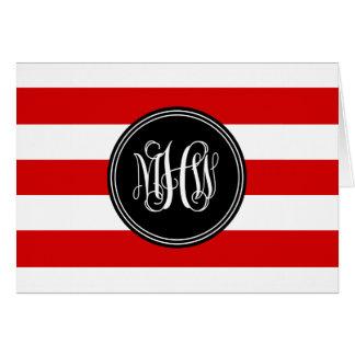 Red White Horiz Stripe #3 Black Vine Monogram Stationery Note Card