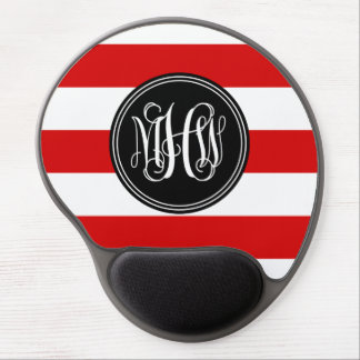 Red White Horiz Stripe #3 Black Vine Monogram Gel Mouse Pad