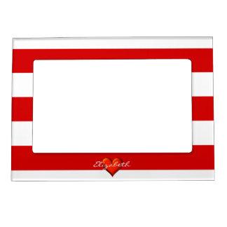 Red White Horiz Stripe Red Metallic Heart Monogram Magnetic Frame
