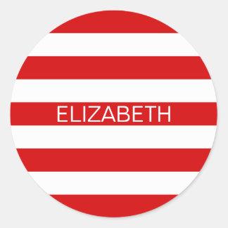 Red White Horizontal Preppy Stripe Name Monogram Round Sticker